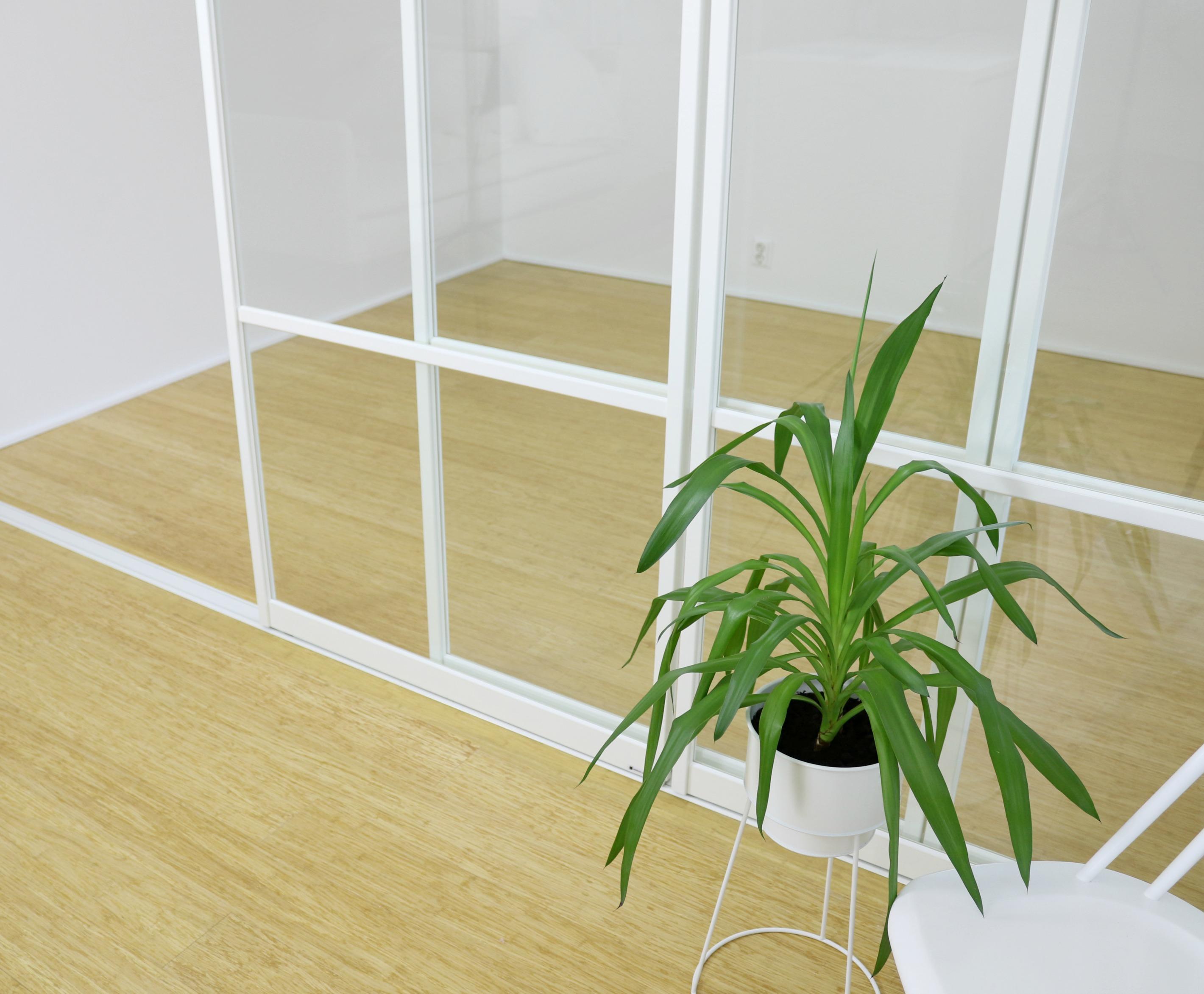 Valkoinen lasiseinä asennus Mirror Line Omakotivalkoinen skandinaavinen sisustus
