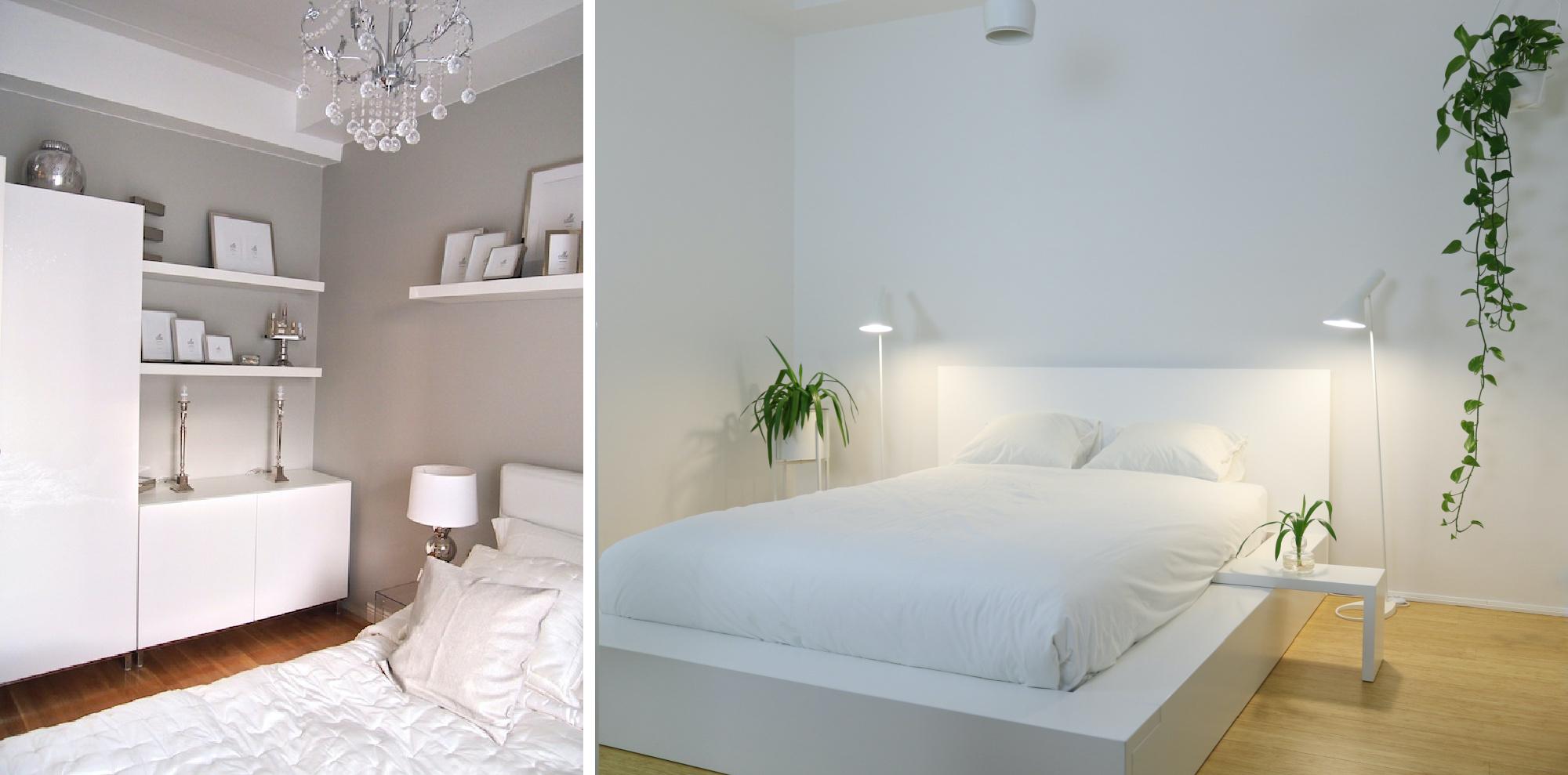 Maalisävy makuuhuoneeseen ennen ja jälkeen kuvia - Sisustusblogi Omakotivalkoinen